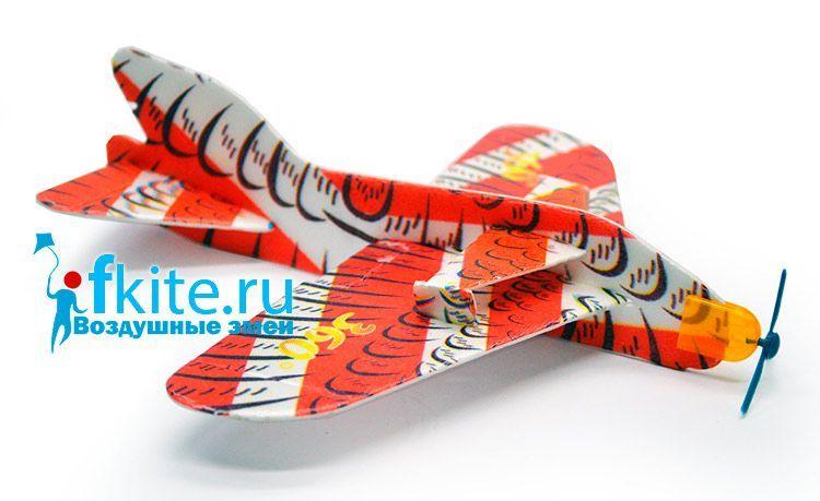Летающий самолетик 20 см из пенопласта с пропеллером [FLPC20]
