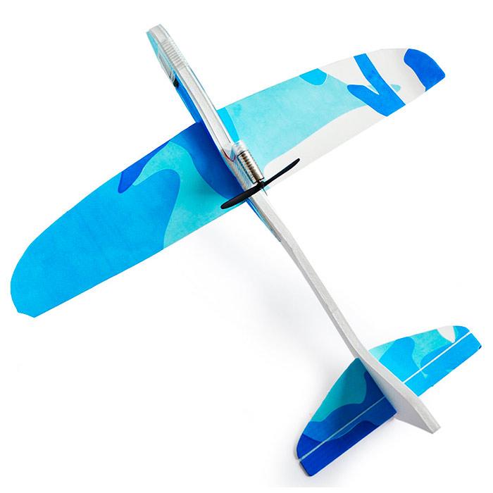 самолетик с мотором 25 см из пенопласта синий [flpm25o]