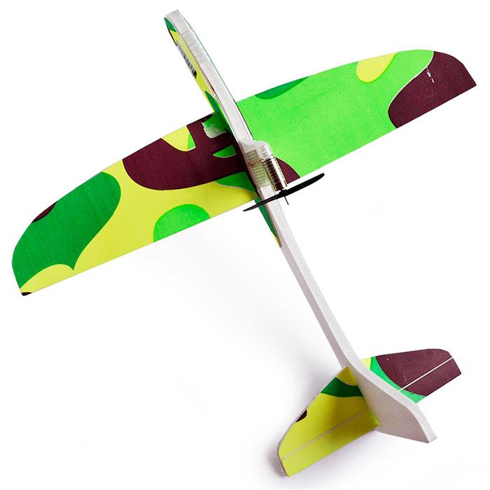 самолетик с мотором 25 см из пенопласта зеленый [flpm25g]