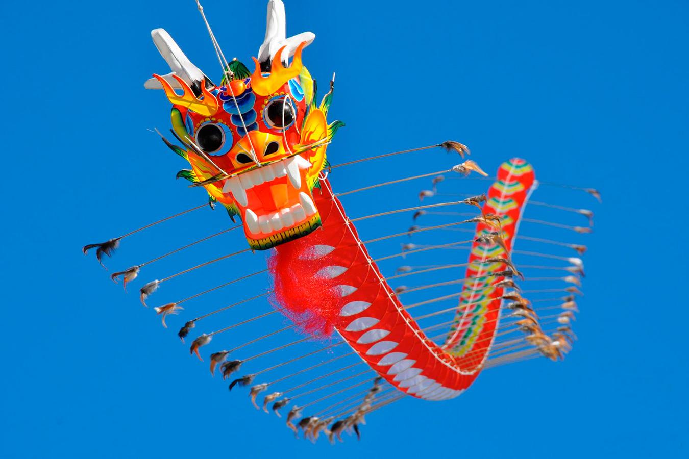 Змей воздушный Большой желтый Китайский Дракон [ZBBCD]