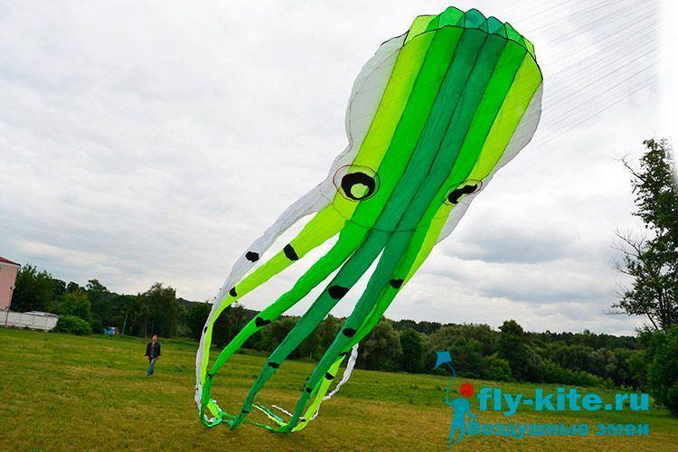 Змей воздушный Огромный салатовый осьминог, 15 метров [ZBH2GS]