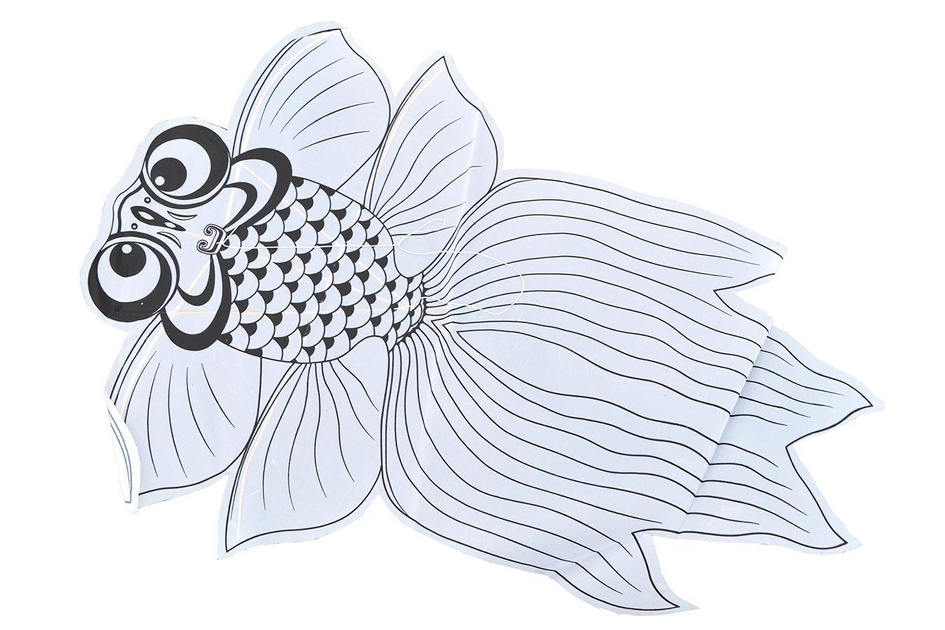 Рыбка, воздушный змей раскраска с красками [ZBQCR]
