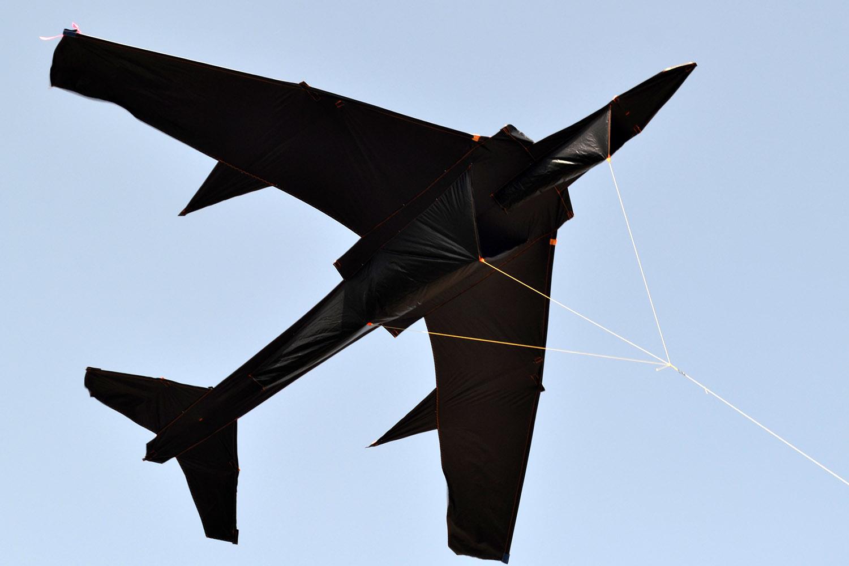 Гигантский черный ТУ-134 воздушный змей от ФКайт